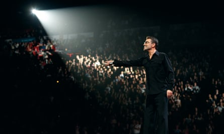 George Michael onstage in a shot from the documentary.