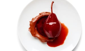 Wine-poached pears in a chocolate cream sauce – but feel free to mix and match. Photographs: Dan Matthews for the Guardian. Food styling: Jack Sargeson.