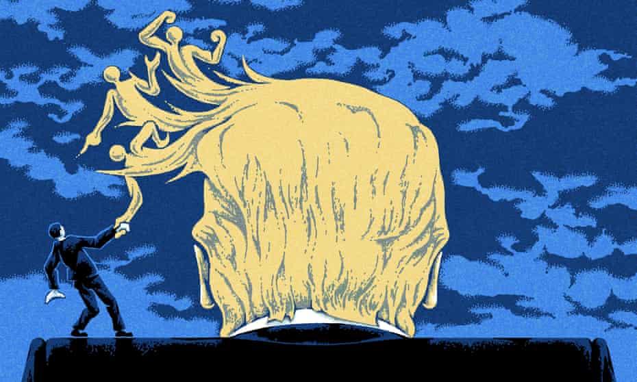 Illustration by Matt Kenyon of Trump's hair fighting off opponent