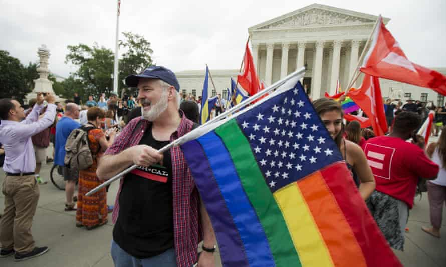 Supporters celebrate the ruling in Obergefell v Hodges outside the supreme court.