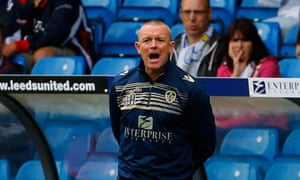 David Hockaday during his first home league game as manager of Leeds, a 1-0 win against Middlesbrough in August 2014