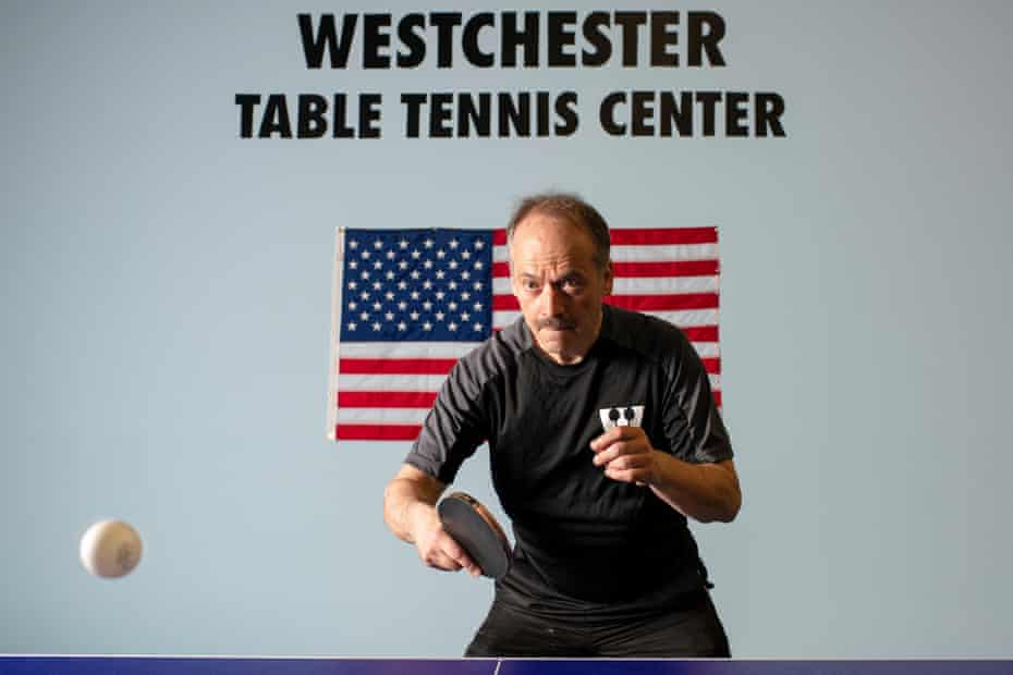 Shortz plays table tennis at the Westchester Table Tennis Center, which he founded, in Pleasantville, New York.