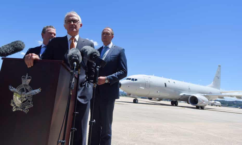 Australia's prime minister Malcolm Turnbull in front of a P-8A Poseidon aircraft in 2016.