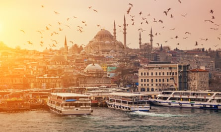View of evening Istanbul from the Galata Bridge