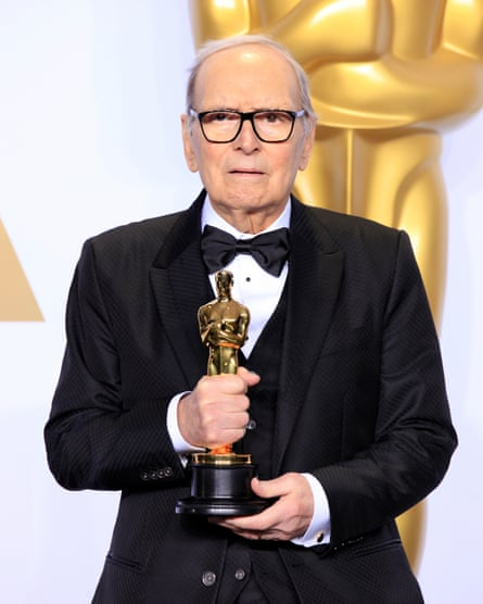 Ennio Morricone collecting the Oscar for best original score in 2016 for Quentin Tarantino's The Hateful Eight.