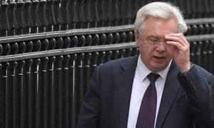 The Brexit secretary, David Davis leaves Downing st, London.