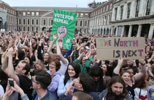 Campaigners wait for the result in the Irish abortion referendum vote at Dublin Castle in May 2018.