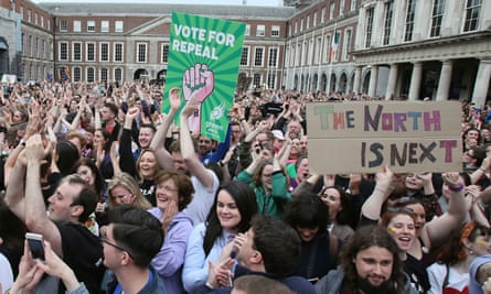 Signs of change … Campaigners in Dublin await the result of the eighth amendment referendum.