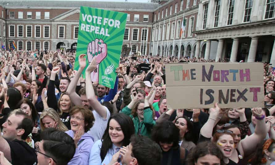 Campaigners wait for the official result of the Irish abortion referendum in May