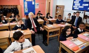 Boris Johnson and Gavin Williamson at Pimlico Primary school, September 2019