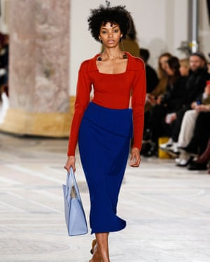 Current season Jacquemus folds a dress at the waist to become a skirt.