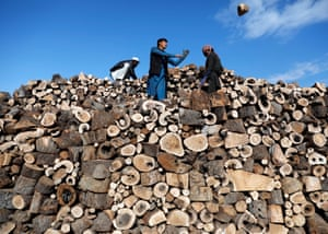 Men in Kabul, Afghanistan, working at their firewood stall