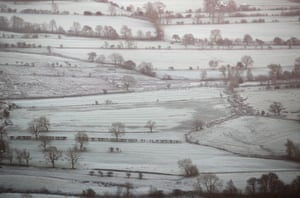 Frost covers a valley near Chapel-en-le Frith in the Peak District