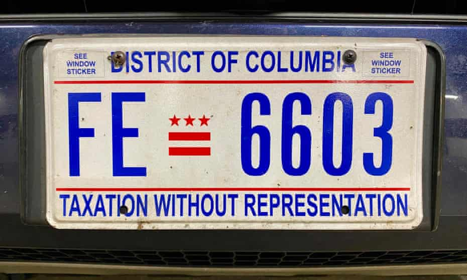 A DC license plate reading 'taxation without representation'.