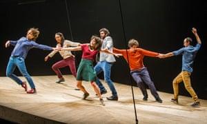 A scene from He Who Falls (Celui qui Tombe) by Yoann Bourgeois @ Barbican Theatre. (Opening 03-02-16) ©Tristram Kenton 01/16 (3 Raveley Street, LONDON NW5 2HX TEL 0207 267 5550 Mob 07973 617 355)email: tristram@tristramkenton.com