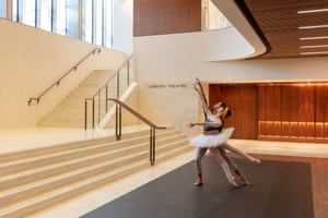 Joseph Sissens and Olivia Cowley of the Royal Ballet in the Royal Opera House's redesigned Linbury Foyer.