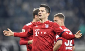 Bayern Munich's Robert Lewandowski celebrates after scoring his side's third goal in the 5-1 Bundesliga win at Borussia Mönchengladbach.