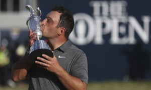 Francesco Molinari kisses the Claret Jug after winning the 147th Open at Carnoustie.