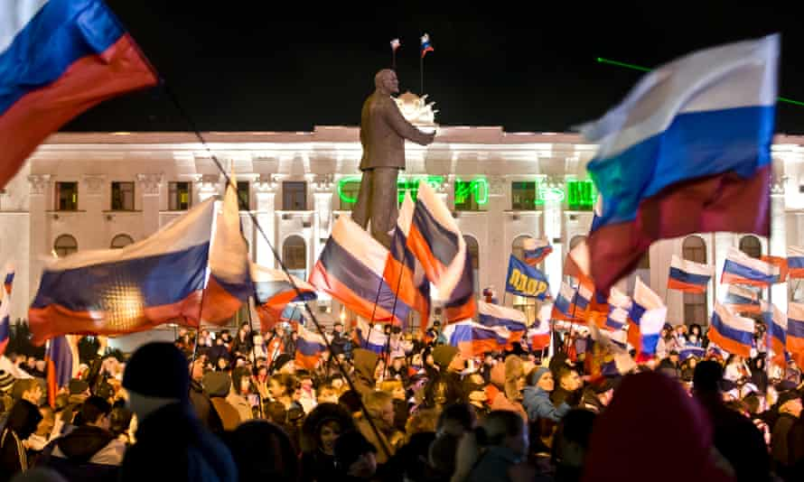 A pro-Russian celebration in Simferopol, a city in Crimea which was annexed by Russia in 2014.