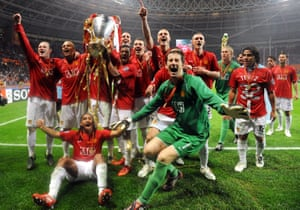 Edwin van der Sar celebrates Champions League glory with Manchester United in 2008.