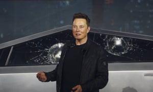 Tesla chief executive Elon Musk introduces the Cybertruck at Tesla's design studio.