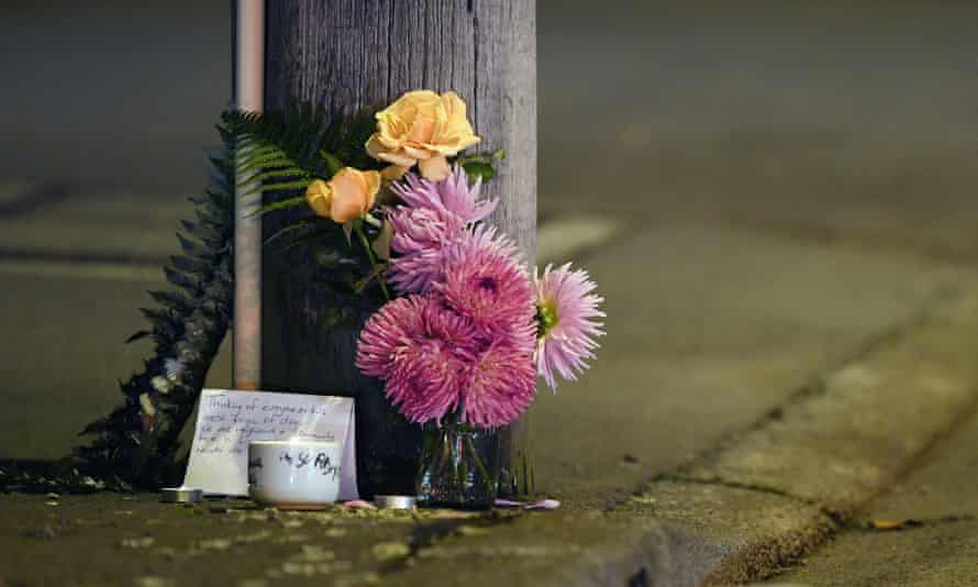 A floral tribute is seen on Linwood Avenue near the Linwood Masjid, Christchurch