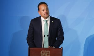 The taoiseach, Leo Varadkar, at the United Nations general assembly in New York.