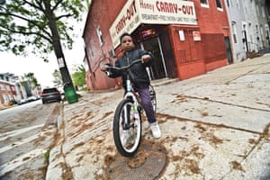 D'Angelo Preston, eight, outside the Honey Carry-Out store – the spot where Bodie was killed in season four.