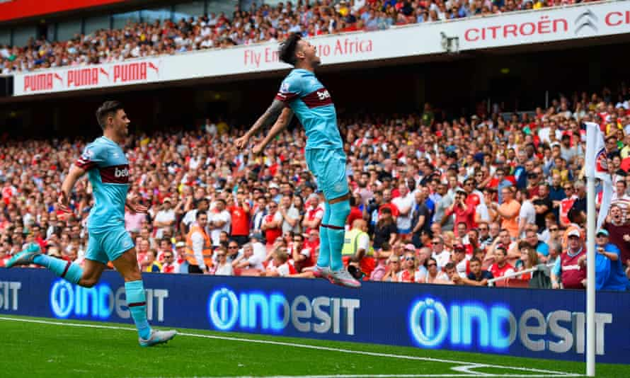 Mauro Zárate celebrates in front of West Ham's fans after scoring at Arsenal in August 2015.
