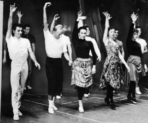 Choreographer Jerome Robbins, second left, with Chita Rivera.