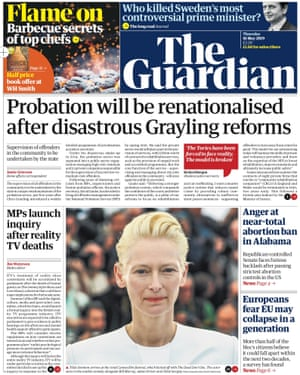 Guardian front page, Thursday 16 May 2019