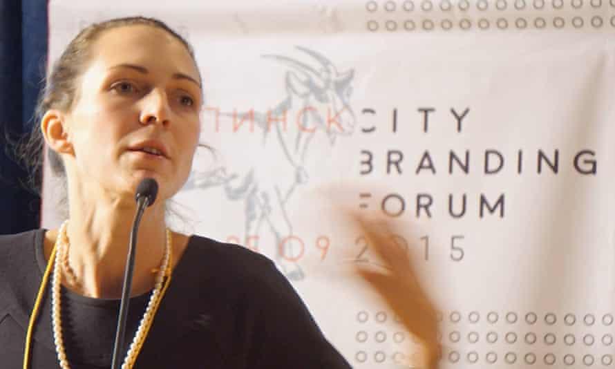 Natasha Grand speaking at the City Branding Forum in Uryupinsk in Russia's Volgograd region in 2015