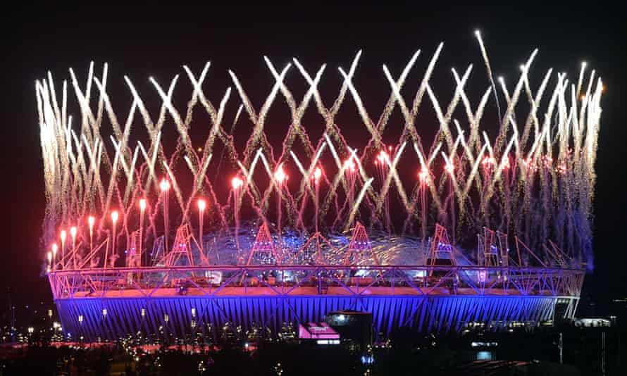 Fireworks light up the Olympic Stadium during the opening ceremony of the London 2012 Olympic Games.