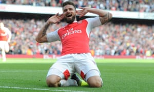 Olivier Giroud celebrates scoring the second goal of his hat-trick against Aston Villa.