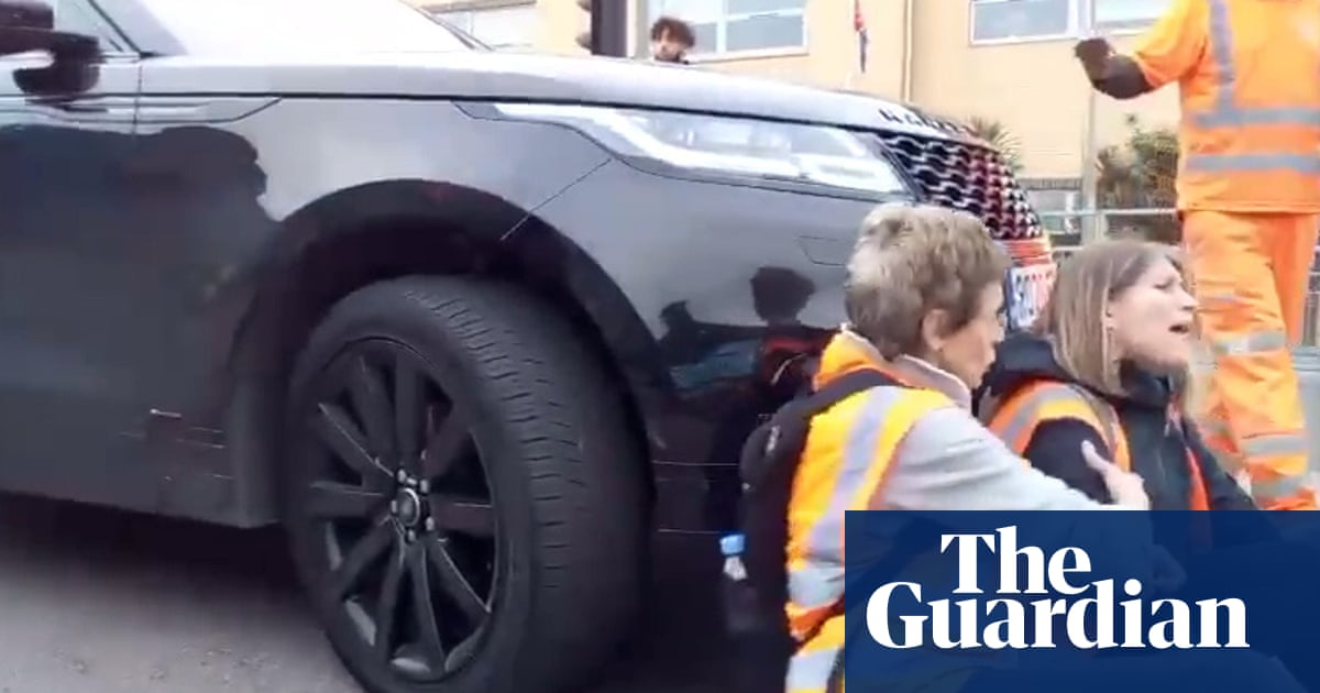 Video shows Range Rover pushing Insulate Britain activist at sit-in
