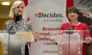 Dutch development minister Lilianne Ploumen, right, stands alongside Danish counterpart Ulla Tornaes at the She Decides conference in Brussels