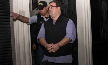Javier Duarte is escorted by police following his arrest in Guatemala on 15 April 2017. He had 41 properties seized as part of the plea deal.
