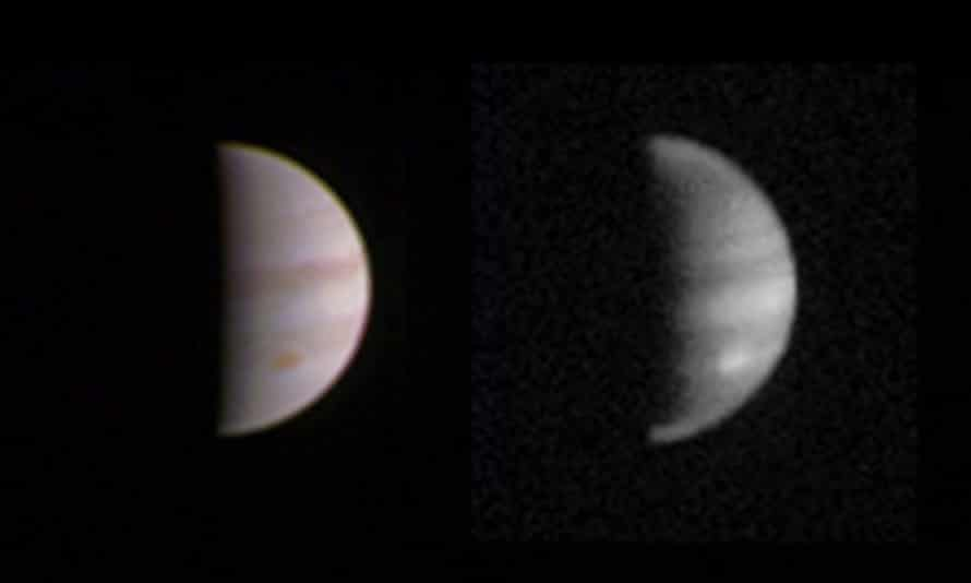 A composite image of two pictures of Jupiter; one with colour filters and one in black and white