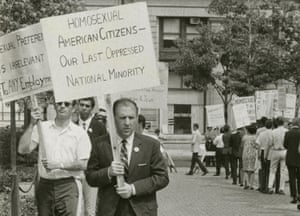 Frank Kameny picketing in a still from a documentary, The Lavender Scare.