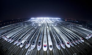 High-speed trains at a depot in Wuhan, China.