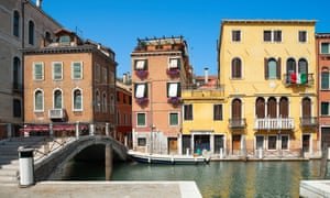 Old houses and bridge over Canal De Cannaregio in Venice, Veneto, Italy