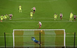 Sheffield United's Billy Sharp scores their first goal from the penalty spot.