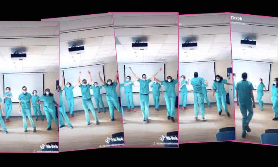 NHS workers 'fighting Corona through the power of dance' on TikTok.