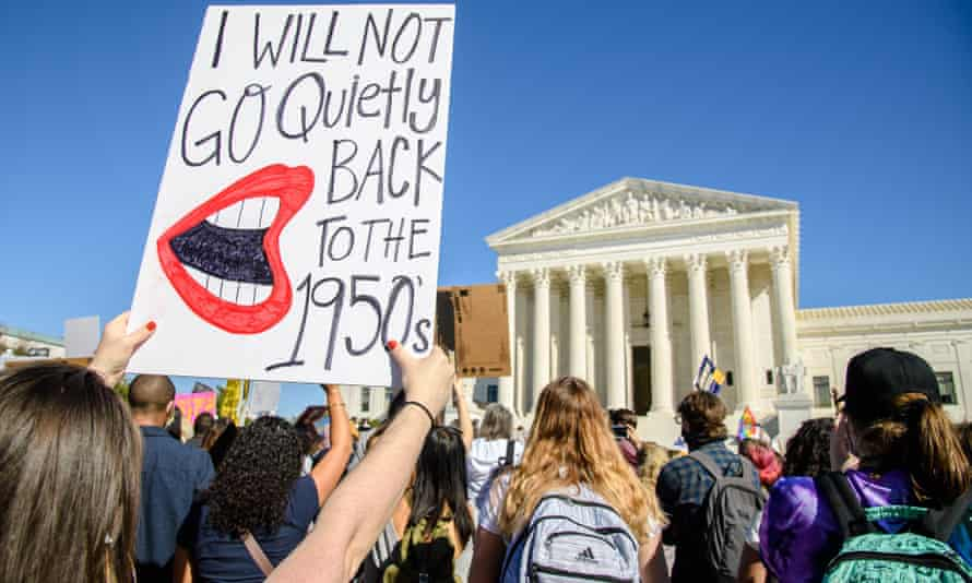 Protesters gather in front of the supreme court during the 2020 Women's March, in October.