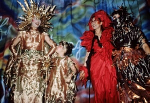 Deborah Hutton with Jenny's daughter Grace Ramsden, Jenny Kee and Linda Jackson, wearing designs by Jackson at the Flaming Opal show, 1981.