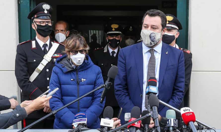 Matteo Salvini addresses the media at the end of a preliminary hearing in Palermo