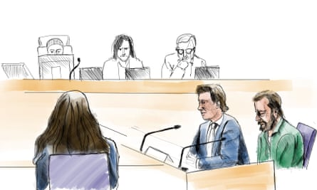 A court sketch shows Daniel Nyqvist (front right), accused of the double murder commited in 2004.