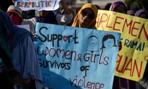 Activists takes part in an event to mark International Women's Day in Banda Aceh in Indonesia.