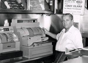 An undated shot of founder Nathan Handwerker at the cash register