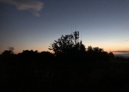 The mobile phone mast at dusk where the nightjars sing. Venus is visible lower left